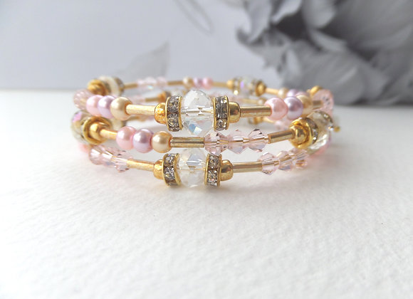 Pink and Gold Bangle/Bracelet, Pearl and Crystal Bangle