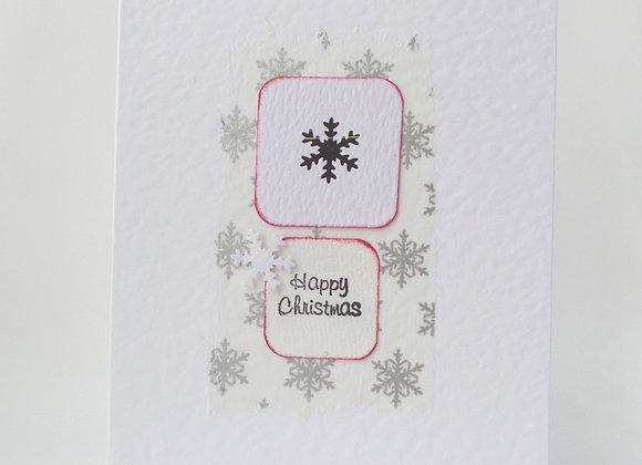Christmas Card, Snowflake Handmade White card