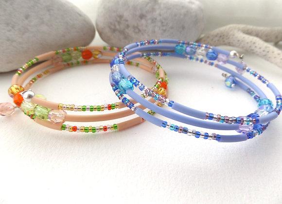 Narrow Beaded Silver Memory Bangle, Blue or Orange