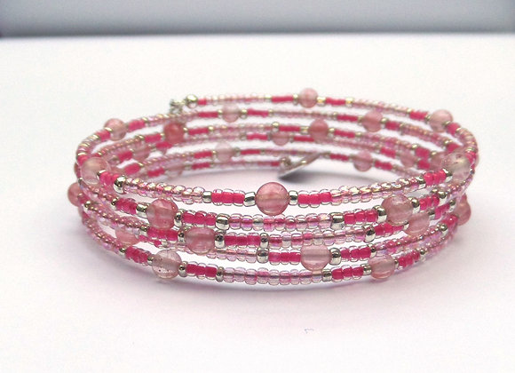 Strawberry Quartz Pink Bracelet, Beaded Memory Bangle