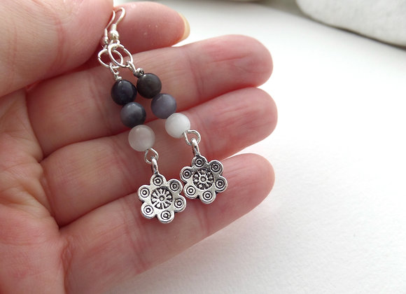 Grey Catseye Earrings, Tibetan Silver Flower Earrings.