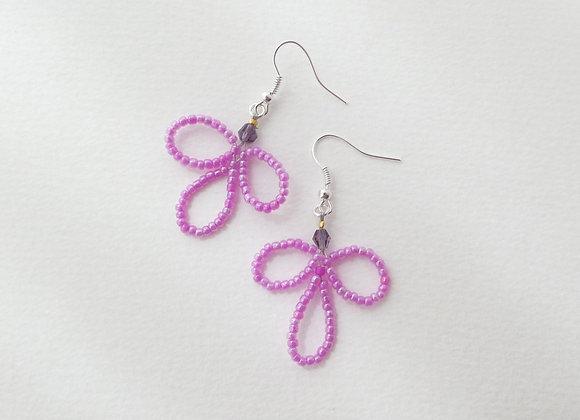 Fuchsia Pink Flower Earrings, Silver Hook Fittings, dangle drops