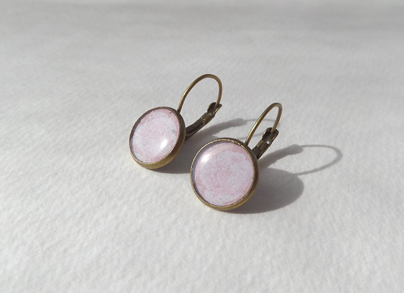 Light Pink Earrings, Antique Bronze, Hinged Dangle Earrings