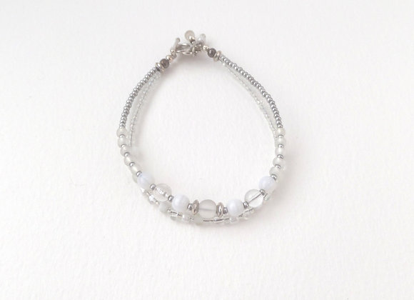 White Silver Clasp Bracelet, White Glass and Silver Toggle Clasp Double St