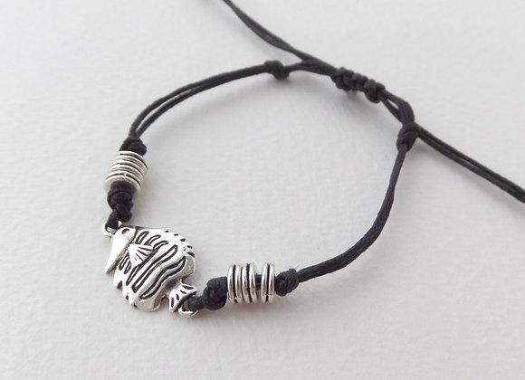 Silver Tropical Fish Bracelet, Black Cotton Cord Bracelet