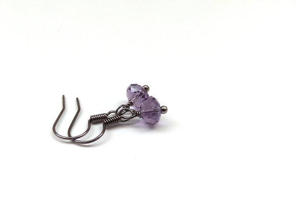 Purple Crystal Black Earrings, Gunmetal Dangle Earrings