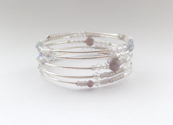 Silver and Lilac Bangle/Bracelet Set