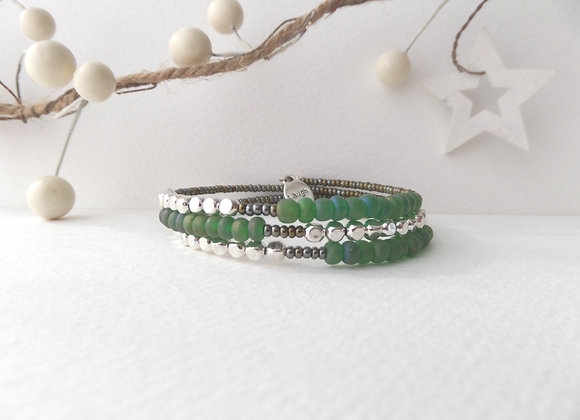 Green and Olive beaded, Silver Cube Bangle/bracelet