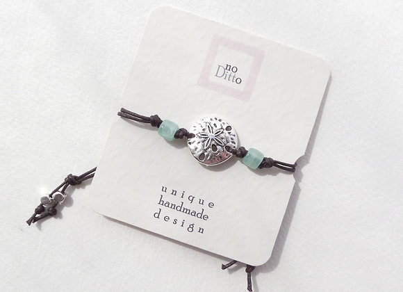 Silver Sand Dollar Bracelet, Brown Cotton Cord Bracelet