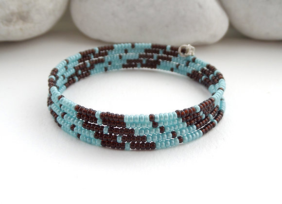 Turquoise Silver Bangle/Bracelet, Brown and Mint,