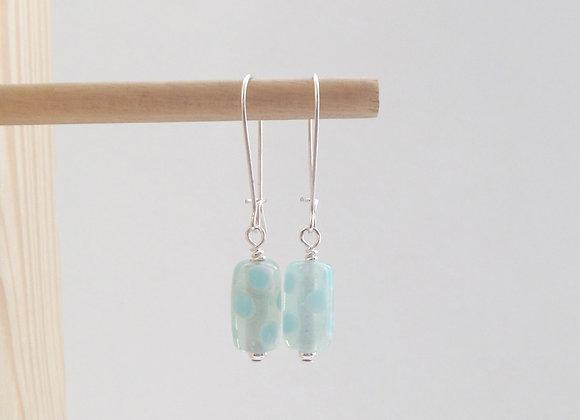 Turquoise Earrings, Dotty Drop Dangle Silver Kidney Earrings