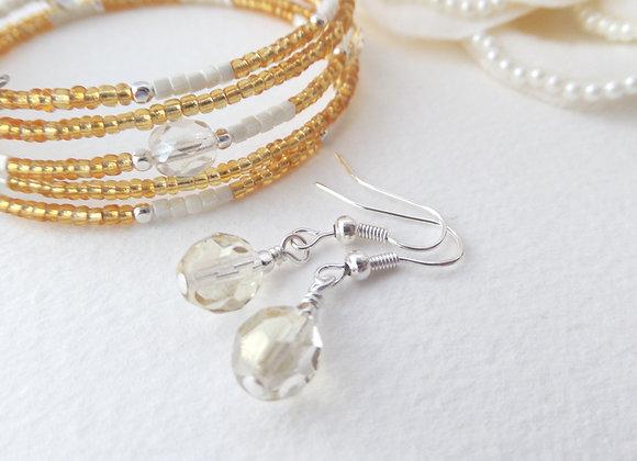Gold and White Silver Bangle/bracelet Set