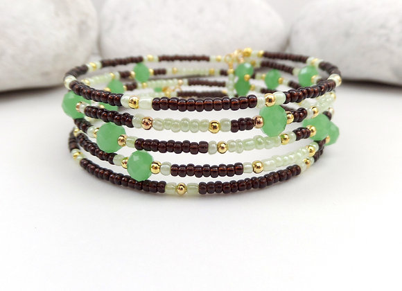 Brown and Green Opal Crystal Gold Bangle/bracelet