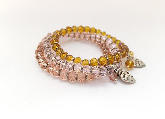 Girl's Crystal Bracelet, Tibetan Silver, Small Crystal Elastic Bracelet