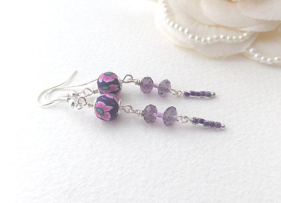 Purple Earrings, Long Drop Dangle Silver Earrings