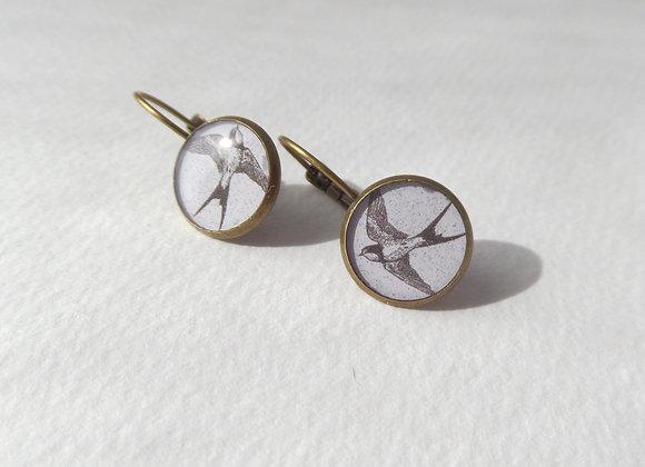 Vintage Swallows, Antique Bronze Dangle Earrings