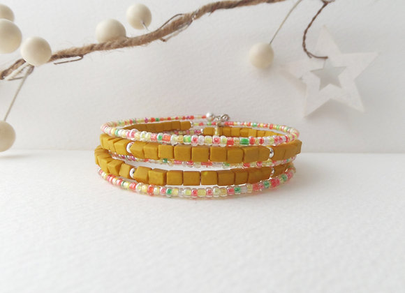 Yellow Ochre Bracelet, Citrus and Mustard Memory Bangle