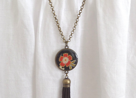 Black Tassel, Antique Bronze, Coral Floral Necklace