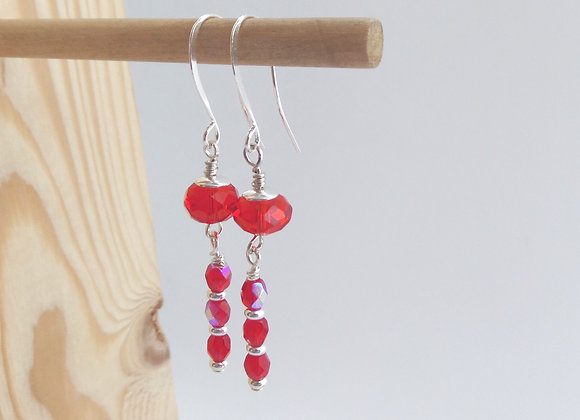 Red Crystal earrings, Bright Dangle Silver Earrings