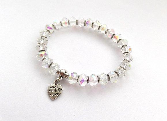 Crystal AB Bracelet, Tibetan Silver Stretch Bracelet, Crystal Elastic Bracelet