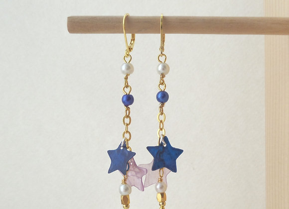 Gold Dangle Earrings, Navy and Lilac Star chain drops
