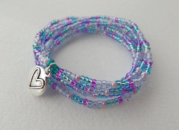 Multi Wrap Stretch Bracelet, Beaded Elastic, Silver Charm
