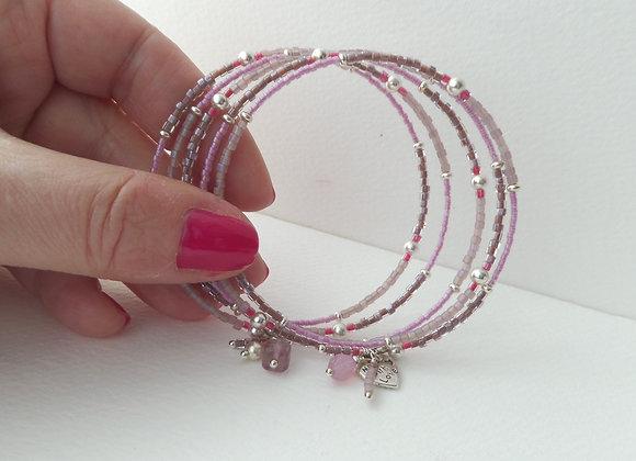 Silver Memory Bangle, Mauve Pink, Taupe, Mink Bracelet