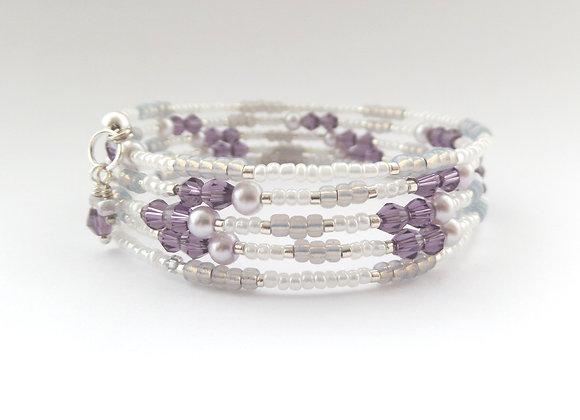 Purple Bracelet, Crystal and Pearl Memory Bangle
