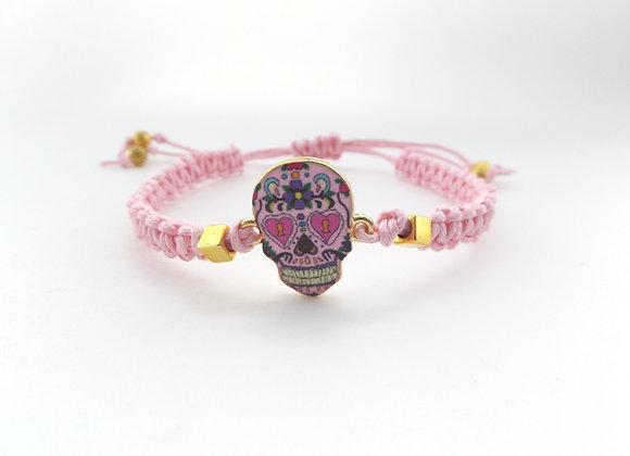 Day of the Dead Bracelet, Pink Cord Bracelet, Gold Sugar Skull