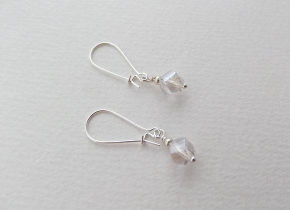Clear Helix Crystal Silver Earrings, Kidney Wire Dangle Drops