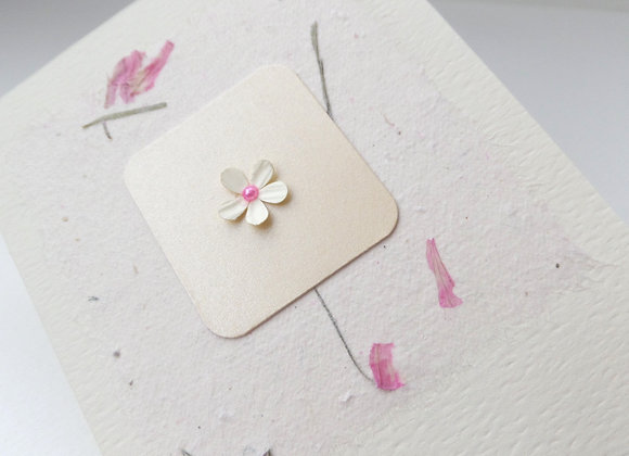 3D Flower Card, Tiny Flower Card, Pink Accent
