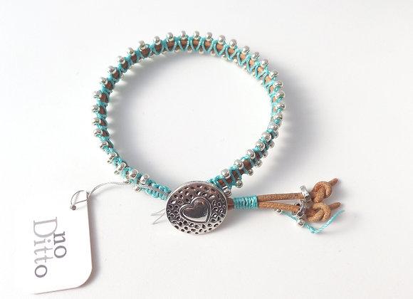Turquoise Bracelet, Natural Leather, Silver Macramé, Clasp Bracelet