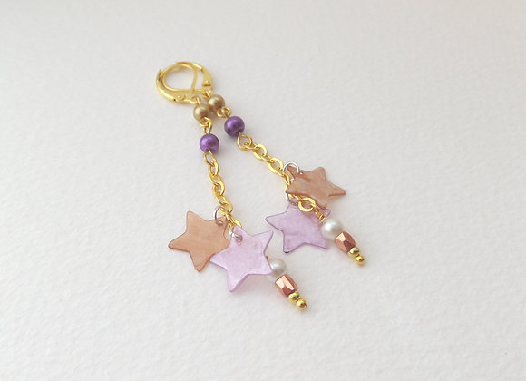 Gold Dangle Earrings, Brown and Mauve Star chain drops