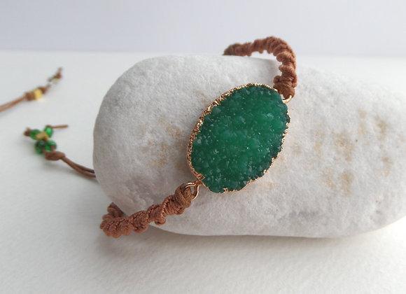 Green Faux Druzy Cord Bracelet, Gold and Brown Cotton Cord Bracelet,