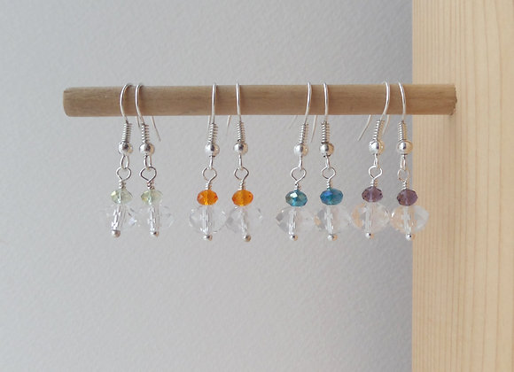 Colour Pop Clear Crystal Earrings, Dangle Silver Earrings