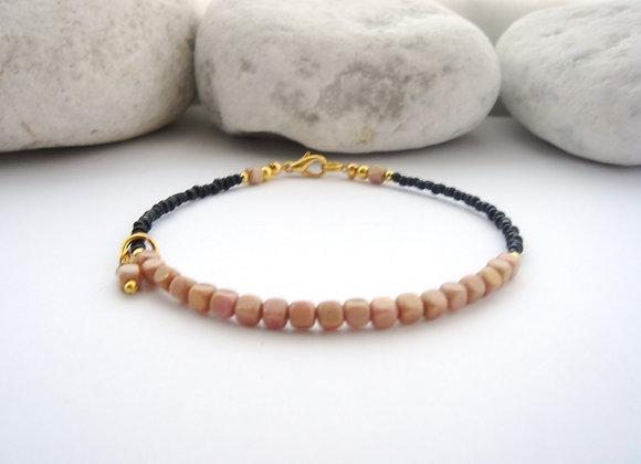 Skinny Beige Cube Bracelet, Delicate Black and Gold bracelet