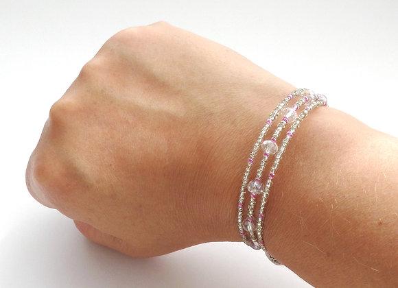 Clear Crystal, Boho Chic Slim Silver Bangle/Bracelet