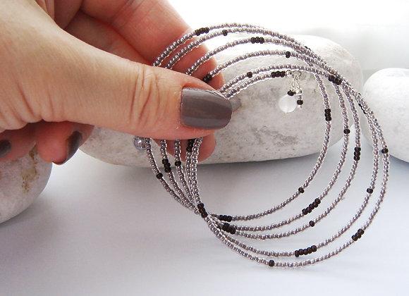 Mink and Brown, Silver Bangle/Bracelet