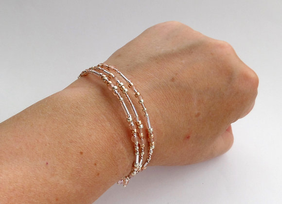 Skinny Peach And Gold Bangle Bracelet