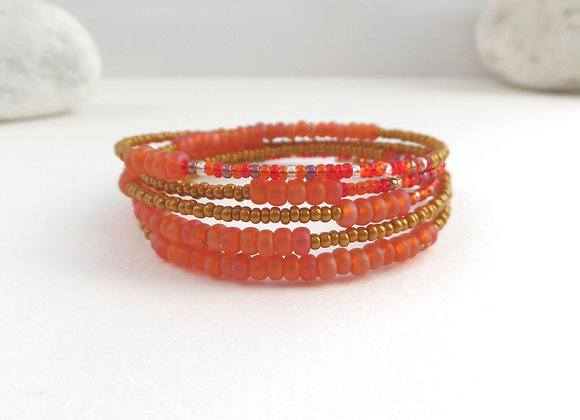 Modern Bangle/Bracelet, Orange and Tan Bangle