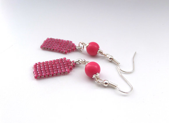 Hot Pink Dangle Silver Earrings