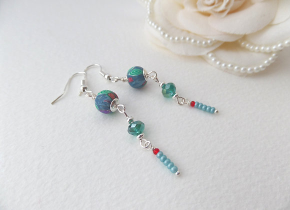 Teal Green Earrings, Long Silver Dangle Earrings