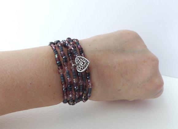 Black Mauve Multi Wrap Stretch Bracelet, Beaded Elastic, Silver Charm