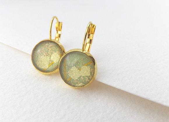 Green Abstract Japanese, Gold Earrings, hinged dangle earrings