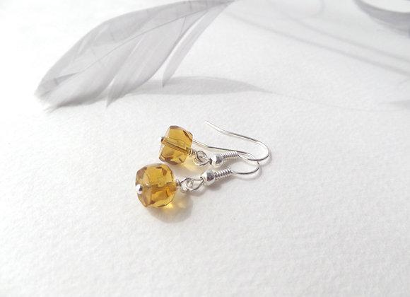 Amber Silver Earrings, Silver Hook Fittings, dangle drops