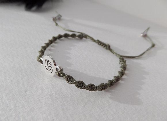 Silver Yoga Bracelet, Macrame Bracelet, Khaki Green Cord Bracelet,