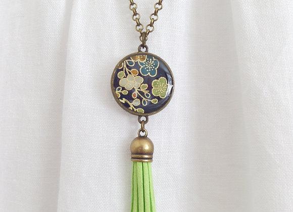 Lime Tassel Bronze Navy Floral Necklace