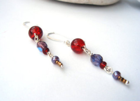 Red And Purple Earrings, Hook Silver Earrings