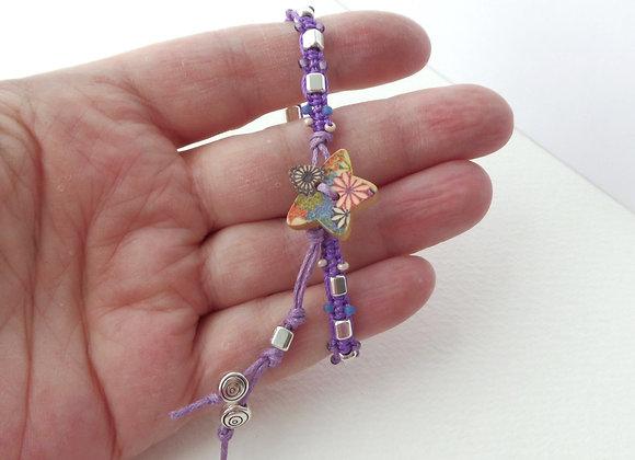 Silver Beaded Bracelet, Purple Macrame, Cotton Cord Bracelet