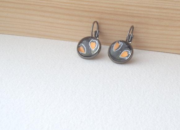 Gunmetal and Orange Earrings, Buds, Black Dangle Earrings